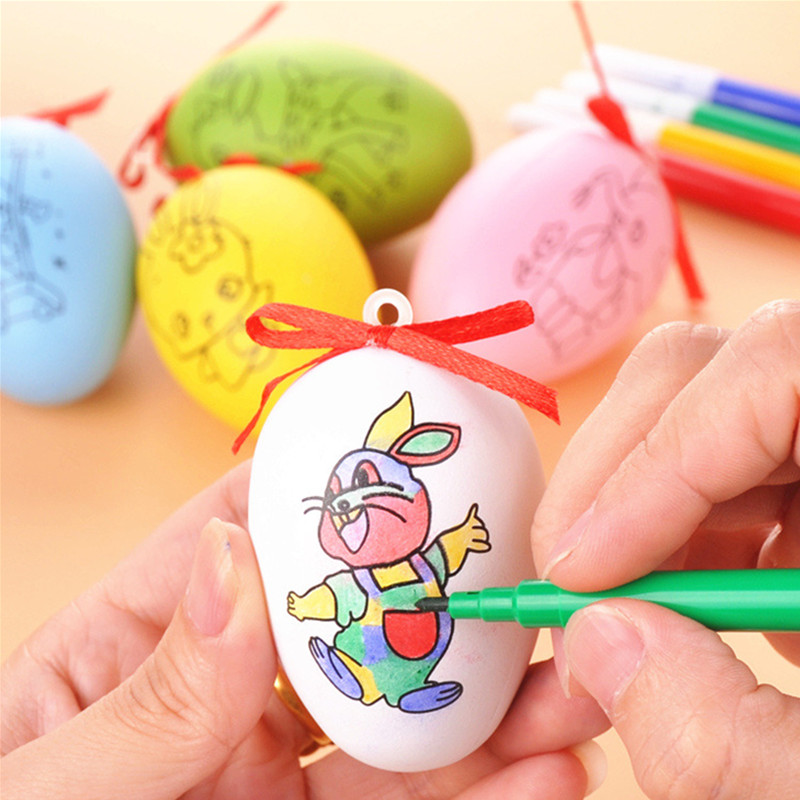 Children's Handmade DIY Easter Egg Graffiti Drawing Toys Manual Art&Craft Toys For Kid Boys Girls Gift Painted Eggshell Toys