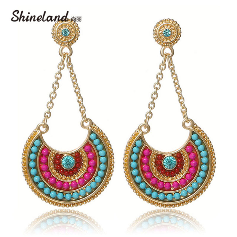 2018 Etniske Smykker Bohemia Multicolor Resin Perler Lang Vedhæng Vintage Statement Dangle Earrings For Women Lady Gifts