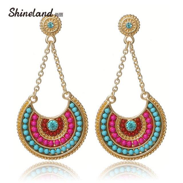 Jewelry 2018 >> 2018 Ethnic Jewelry Bohemia Multicolor Resin Beads Long Pendant