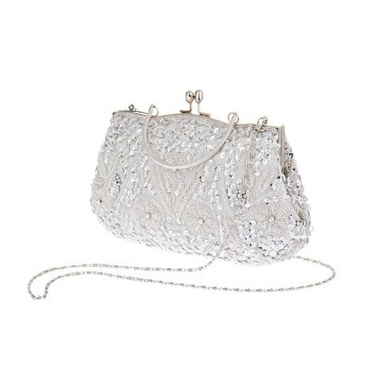 edcb442b0e Womens Brand Fashion Polyester Beaded Handbag Wedding Party Prom Clutch  Purse Evening Bag for Women Girls(Silver white) on Aliexpress.com | Alibaba  ...