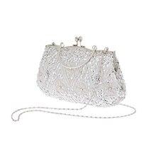 7fc709d6b Mujeres marca moda poliéster cuentas bolso de la boda prom embrague noche  bolsa para las mujeres