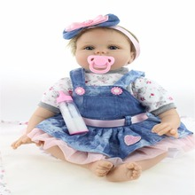 2016 Hot New  Reborn Silicone Baby  children's toys Magnet Pacifier 22 inch 55 cm Cute cowboy dress doll
