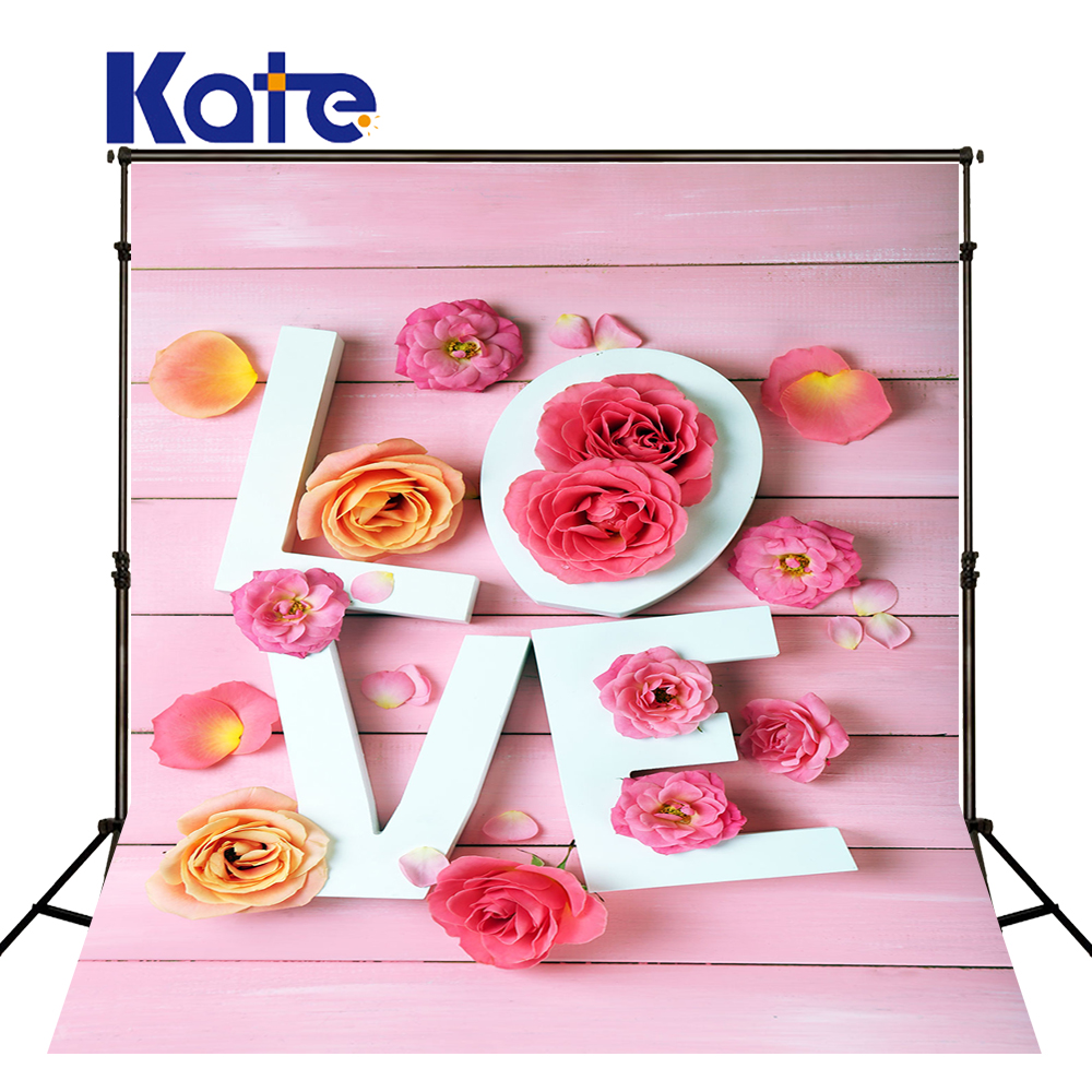 KATE ValentineS Day Backdrops Photography Background Pink Flower Wooden Wall Backdrops White Love Letter Background for Studio