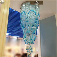 Long lights crystal lamps hanging wire double spiral staircase led headlights villa living room Chandeliers Rmy 0462