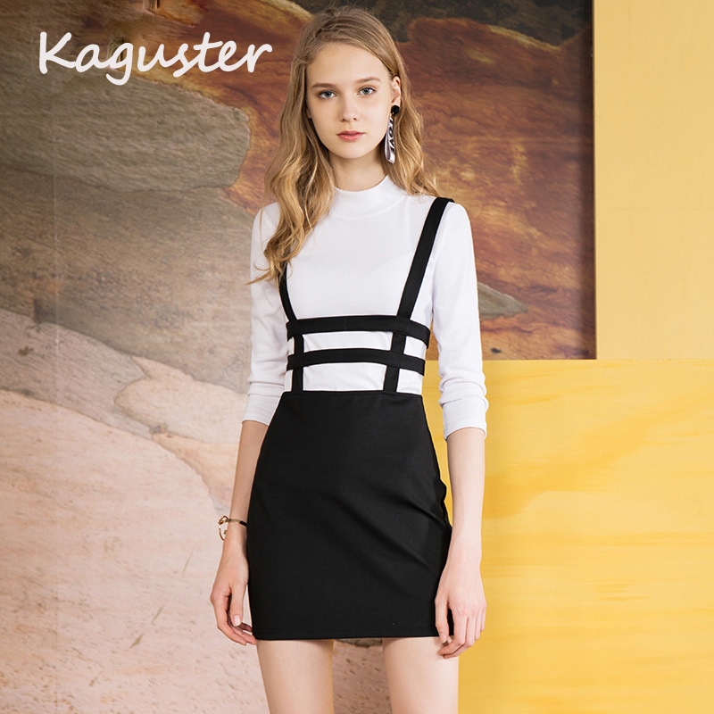 Women Girls Black Hollow Out Skater Pleated Mini Suspender Skirt Shoulder Straps  Skirts High Waist School eda9e2685