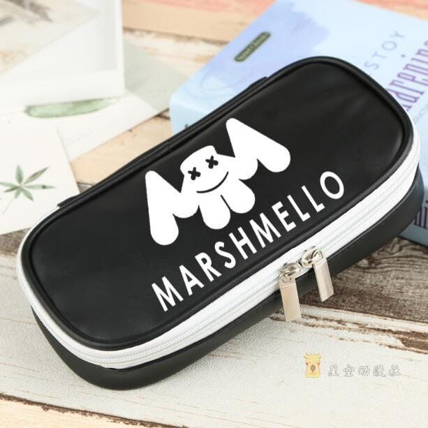 DJ Marshmello Mask Full Face Pencil case pen bag Student Thickening stationery
