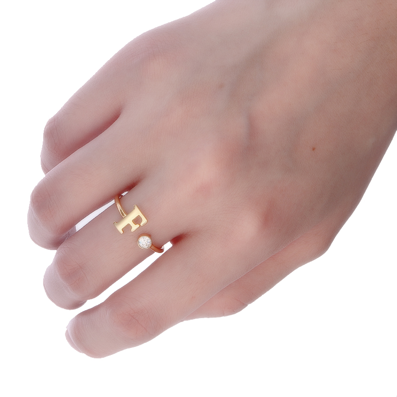 Anel de Noivado Duoying Zirconia Birthstone Anéis Abertos Personalizado Alfabeto Mulheres Dedo Jóias Anéis Mulheres Presente Vanlentine