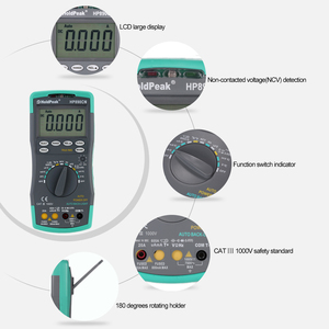Image 4 - Holdpeak hp 890cn Digitale Multimeter Backlight AC/DC Amperemeter Voltmeter Ohm Draagbare Meter weerstand frequentie duty cycle test