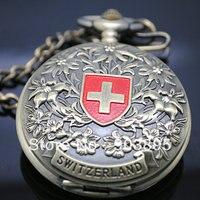 Vingtage SWITZERLAND Bronze Copper Tone Hand Wind Skeleton Mechanical Fob Pocket Watch Mens Pendant Watch Chain