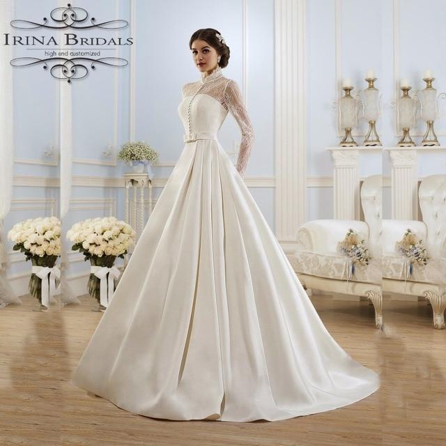 Alibaba China High Neck Long Sleeve Lace Jacket Bow Belt Satin Wedding Dress