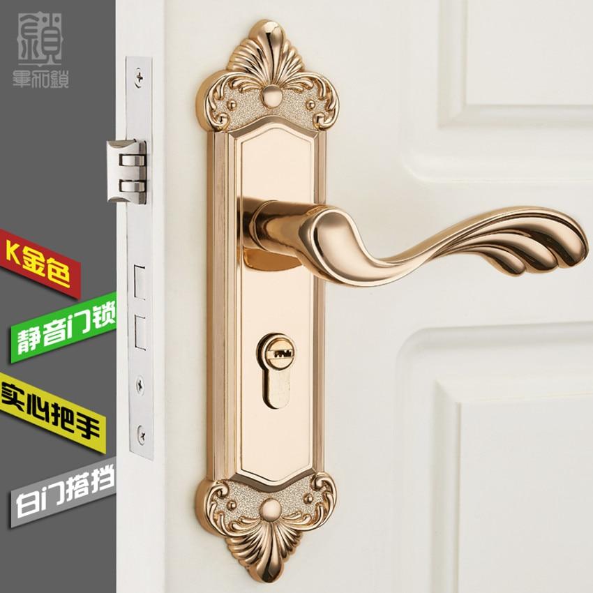 Fashion gold bedroon door handles antique brass / ivory white mute ...