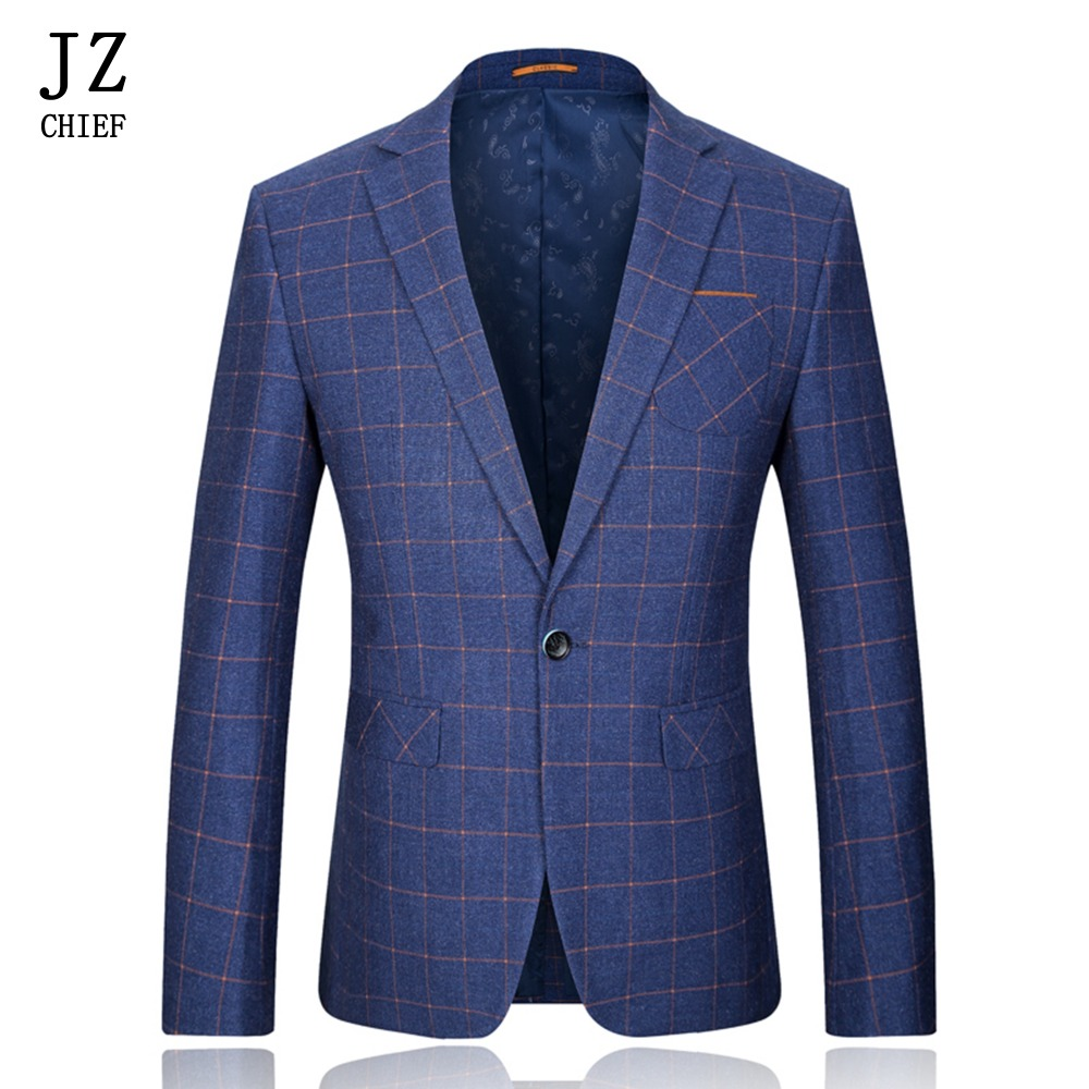 JZ CHIEF Men Orange Plaid Wool Jacket Coat Navy Blue Blazer Mens Tweed Suit Single Breasted Coat Men One Button Blazer Fit Slim