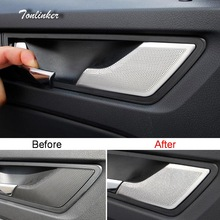 Tonlinker Cover Sticker For SKODA KODIAQ 2017-18 Car Styling 4 Pcs stainless steel Interior Door handle Speaker Cover stickers