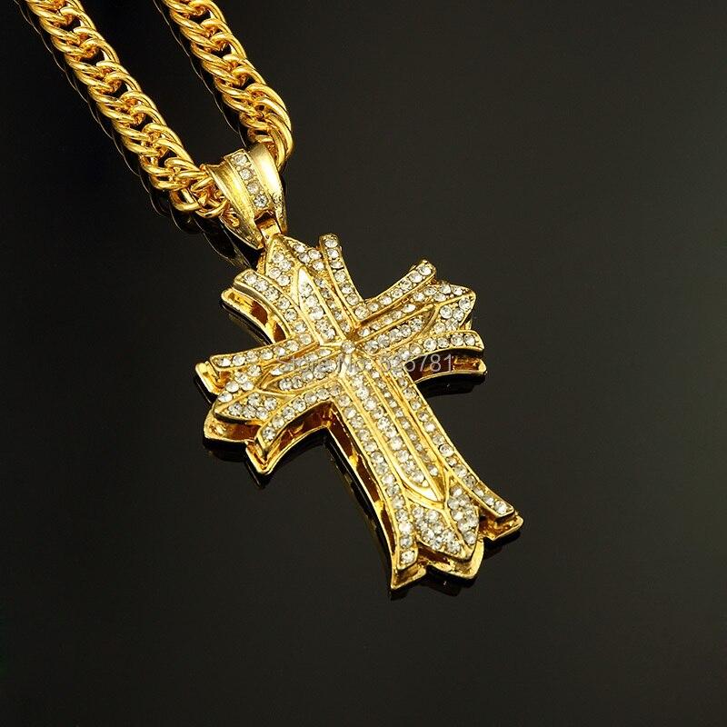 1pcs Rock Dance Cross Pendant Long Necklace Thick Gold