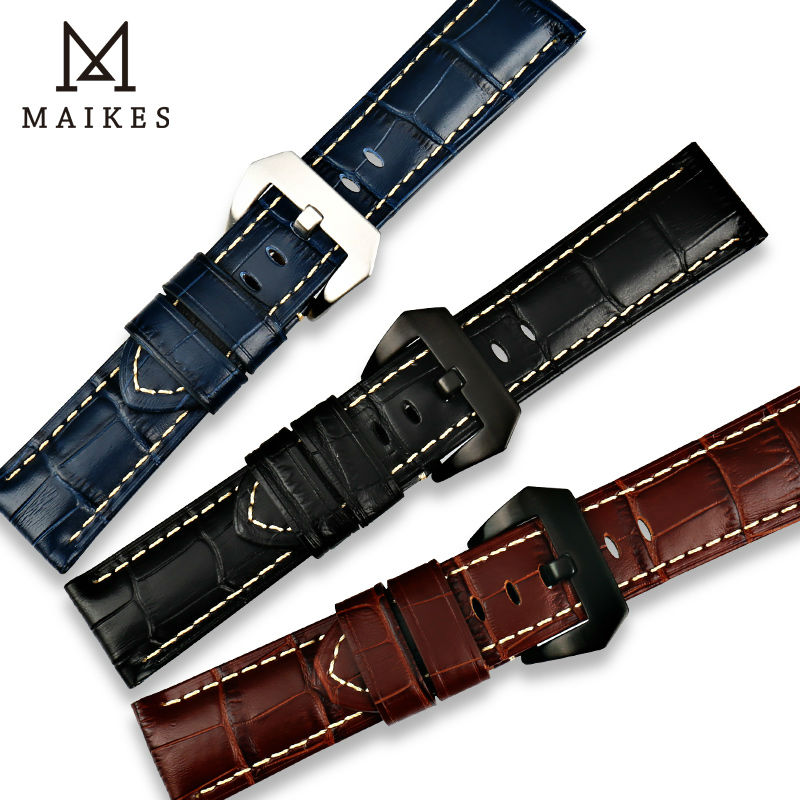 MAIKES New Design Watchbands 22 24 26mm Watch Accessories Genuine Leather Band Watch Strap Stainless Steel Buckle For Panerai