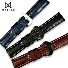 MAIKES New design watchbands 22 24 26mm watch accessories genuine leather band strap stainless steel buckle for Panerai