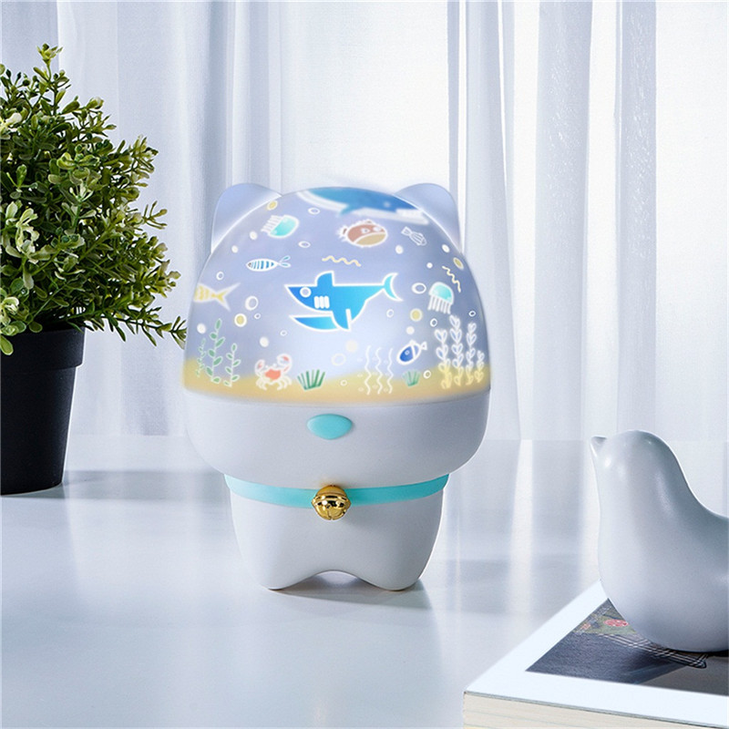 Cosmic Night Light Projection Lamp Romantic Xinghai Birthday - 6 Modes Night Light Bunny Star Ocean  Motion Sensor