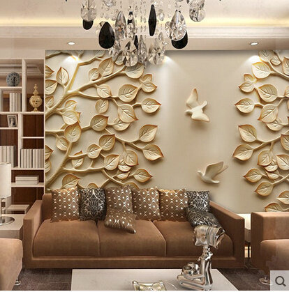 European wallpaper mural large 3d wall paper leaves for tv for Living room paper