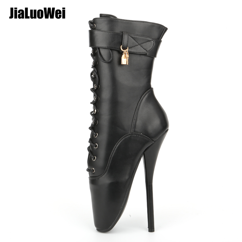 Jialuowei Ballet Boots tacco alto Spike nero PU Cross Tied Lace Up Mid-Vitello Primavera e autunno Stivali donna Plus Size 36-46