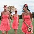 Hot Sale Sleeveless Cheap Coral Bridesmaid Dress Short Under 50 Vestido De Novia Corto Knee Length Chiffon Wedding Guest Dresses