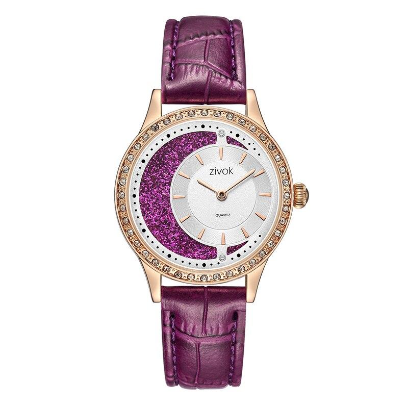 Purple Moon Rhinestone Leather Strap Belt Watch