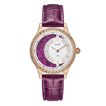 Purple Moon Rhinestone Leather Strap Belt Watch