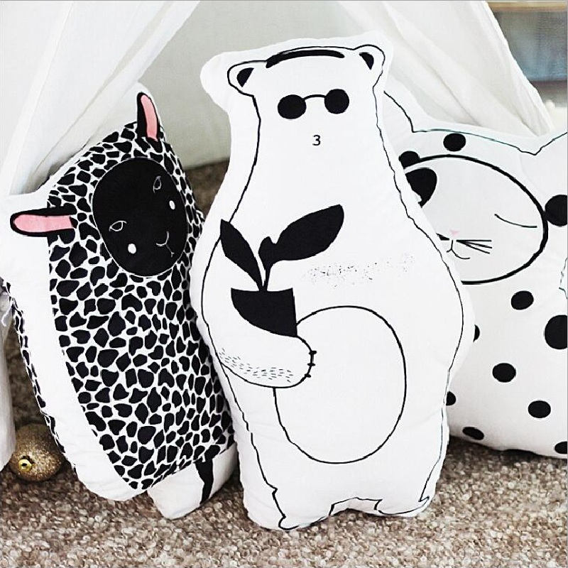 Cute Animals Bear Sheep Cat Stuffed Plush Cushion Pillow Baby Calm Sleep Dolls Kids Photo Props Bed Room Home Sofa Car Decor Toy