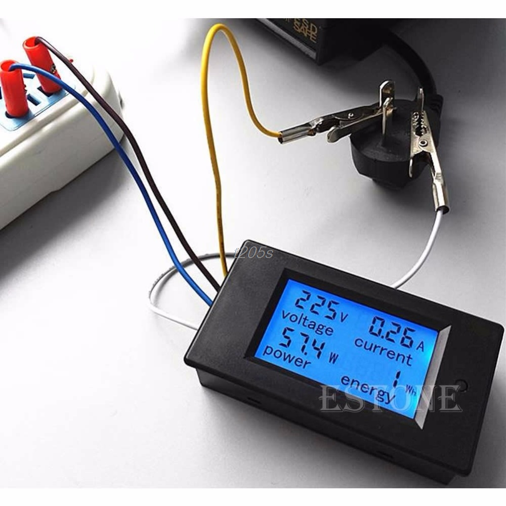 LCD Digital Wattmeter Volt Watt Power Ammeter Voltmeter AC 80-260V 20A Trajectory New T12 Drop ship