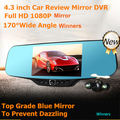 "Dual lens 170 degreen lens Car dvr mirror 4.3"" LCD A20 Chips car dvr mirror Full HD 1920*1080P 140 degree Night Vision Video"