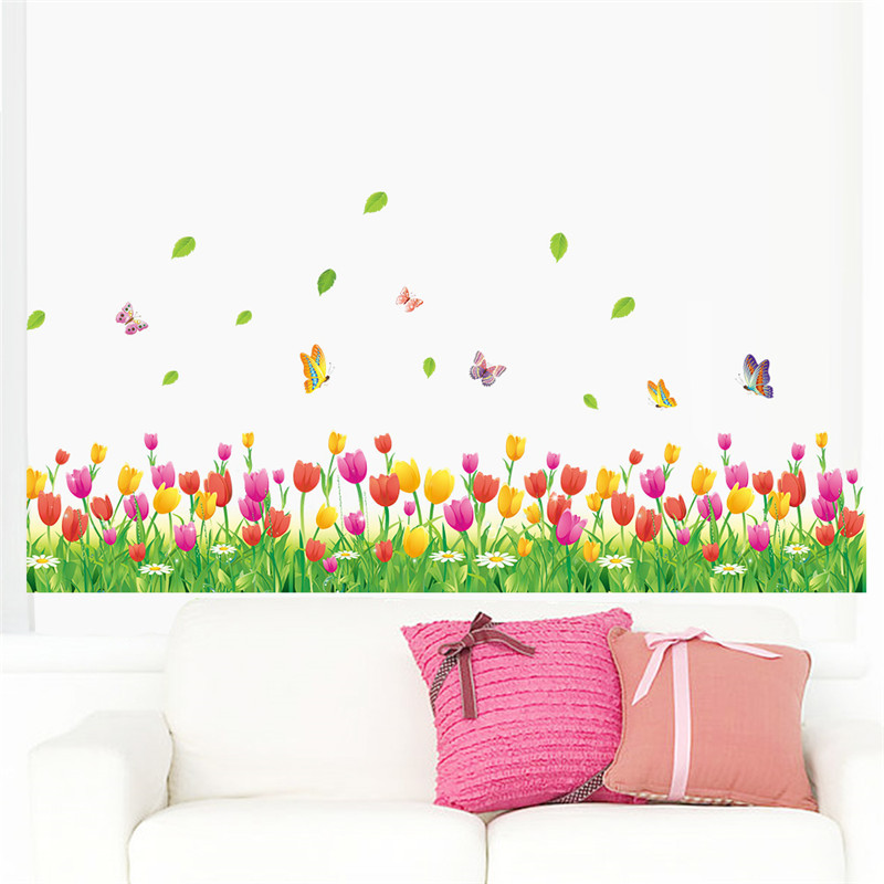 % Country style tulip flower Butterfly Baseboard wall Stickers DIY Wall Decal Home decor Living Room Bedroom Window Decoration