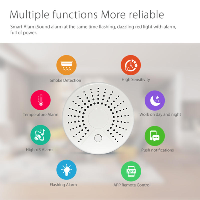 Intelligente WiFi Rivelatore di Fumo del Sensore di Allarme Casa Sistema di Allarme di Movimento di Automazione di Avvertimento SL @ 88Intelligente WiFi Rivelatore di Fumo del Sensore di Allarme Casa Sistema di Allarme di Movimento di Automazione di Avvertimento SL @ 88