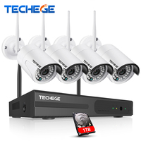 Wireless CCTV Security 4pcs WIFI IP Camera Waterproof 1 0MP CCTV Camera 4CH NVR System P2P
