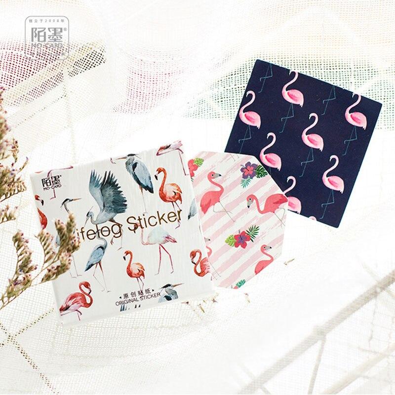 Купить с кэшбэком 45pcs/ kawaii Creative flamingos Dreamy colour DIY toy Calendar Album Deco sticker scrapbooking planner sticker material