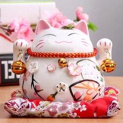 4.5 polegada Maneki Neko Gato Sorte Cerâmica Decoração de Casa de Porcelana Fortuna Gato Caixa de Dinheiro Fengshui Artesanato Enfeites de Presentes do Negócio