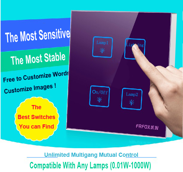 Hot Selling Tempered Glass touch light wall switch 4 gangs 2 way Purple Free Customize LED Smart switch,110v~250V Free Shipping new arrival 3 gangs 2 way gold touch light wall switch customize words led 110 250v touch switch work for any lamp free shipping