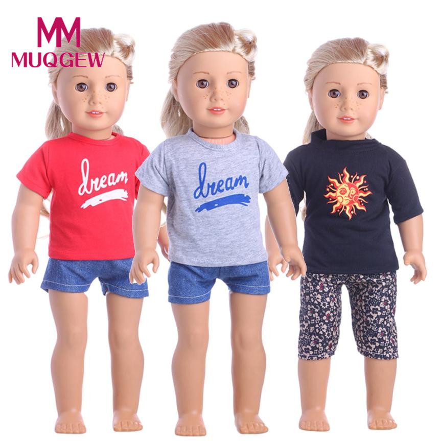 Hot sale Sportswear For 18 inch Our Generation American Girl Doll baby born doll accessories 2PCS/ Set 18 inch Dolls' Clothing american girl doll clothes superman and spider man cosplay costume doll clothes for 18 inch dolls baby doll accessories d 3