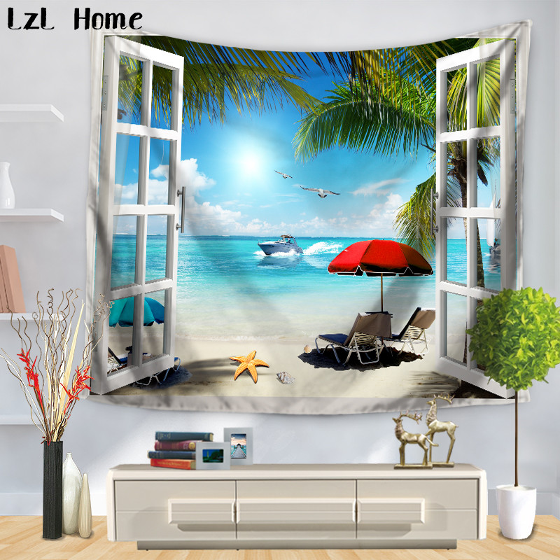 LzL Home Summer Vacation Sand Beach Scenery Tapestry Tropical Island Wall Hanging Tapestry For Bedroom Livingroom Wall Decor
