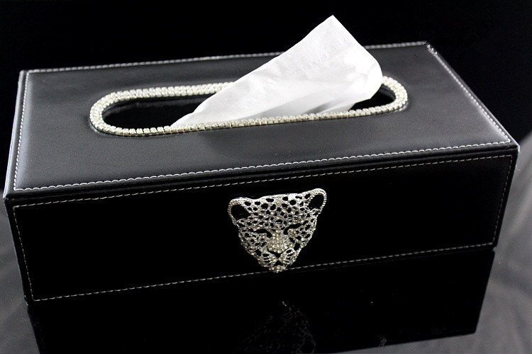 Black Car Tissue Box with Metal Leopard Head and Crystals Block Paper Towels Container Tissue Cover Case for Home Office