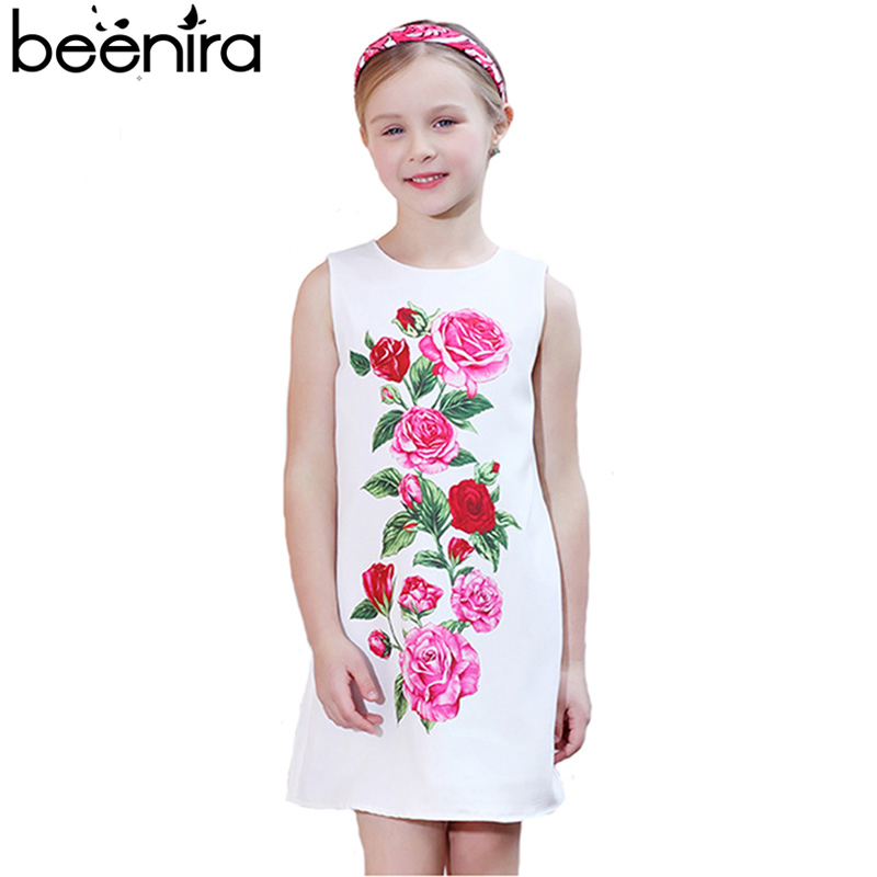 Summer Girls Dress Children Rose Print Vest Princess for Party Kids Princess  A Line White Color Clothing For Baby High Quality new girls dress brand summer clothes ice cream print costumes sleeveless kids clothing cute children vest dress princess dress