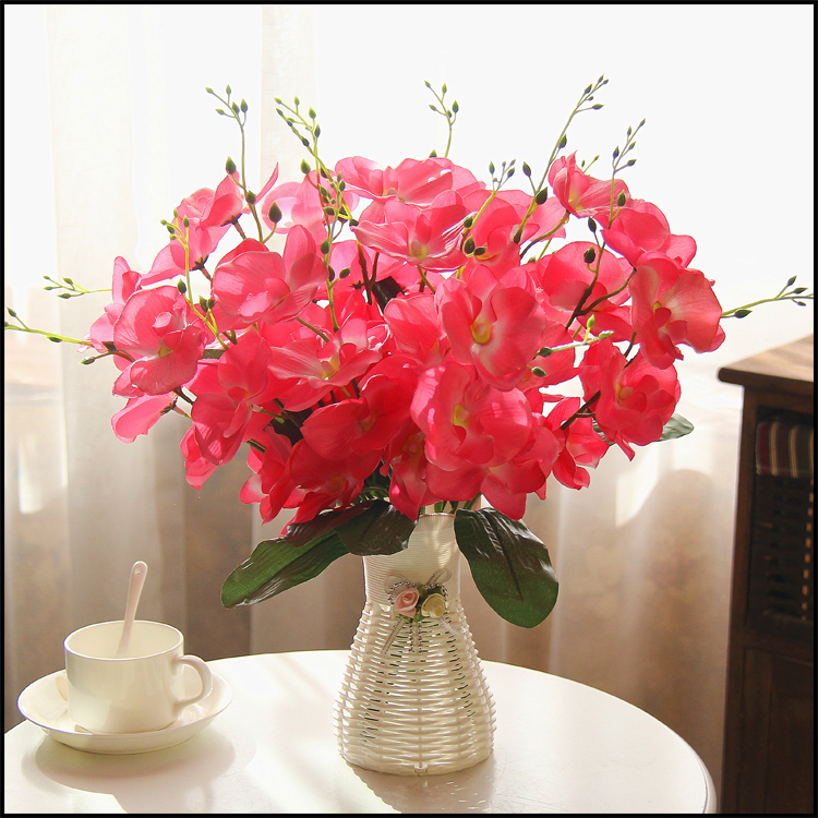 Quality Plastic Vase Silk Flowers Artificial Flower Set Home Decoration Wedding Decor Free Shipping In Dried From