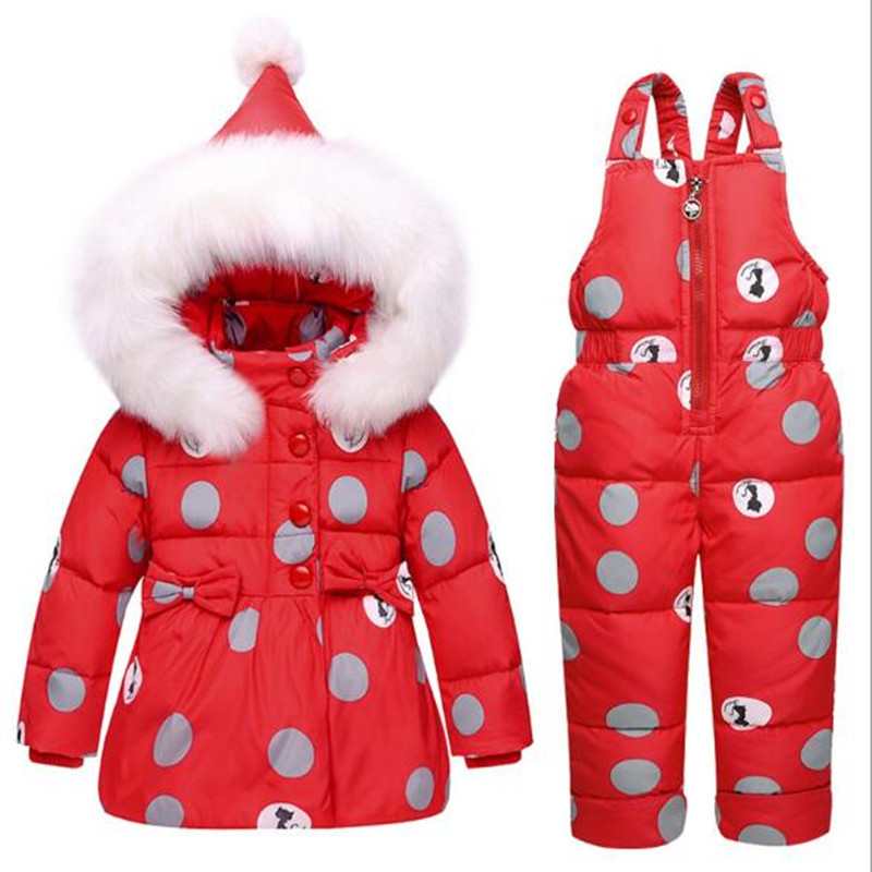 FEE HUG Baby Girls Clothing Sets Infant Duck Down Cotton Jacket +Romper Pants 2pcs Clothes Suits Winter Boys Dot Hooded Coats russia winter boys girls down jacket boy girl warm thick duck down