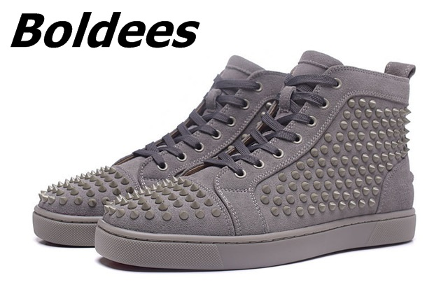 Boldees Tennis Men Sportswear Black Party Shoes Suede Spikes Studded Shoes Men Brand High Top Casual Shoes Flats Sneakers - 5