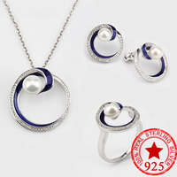Moonso New Arrival! 925 Sterling Silver Set for Women Fresh Water Pearl Jewelry Wedding Ring Earrings and Necklace LJ3108S