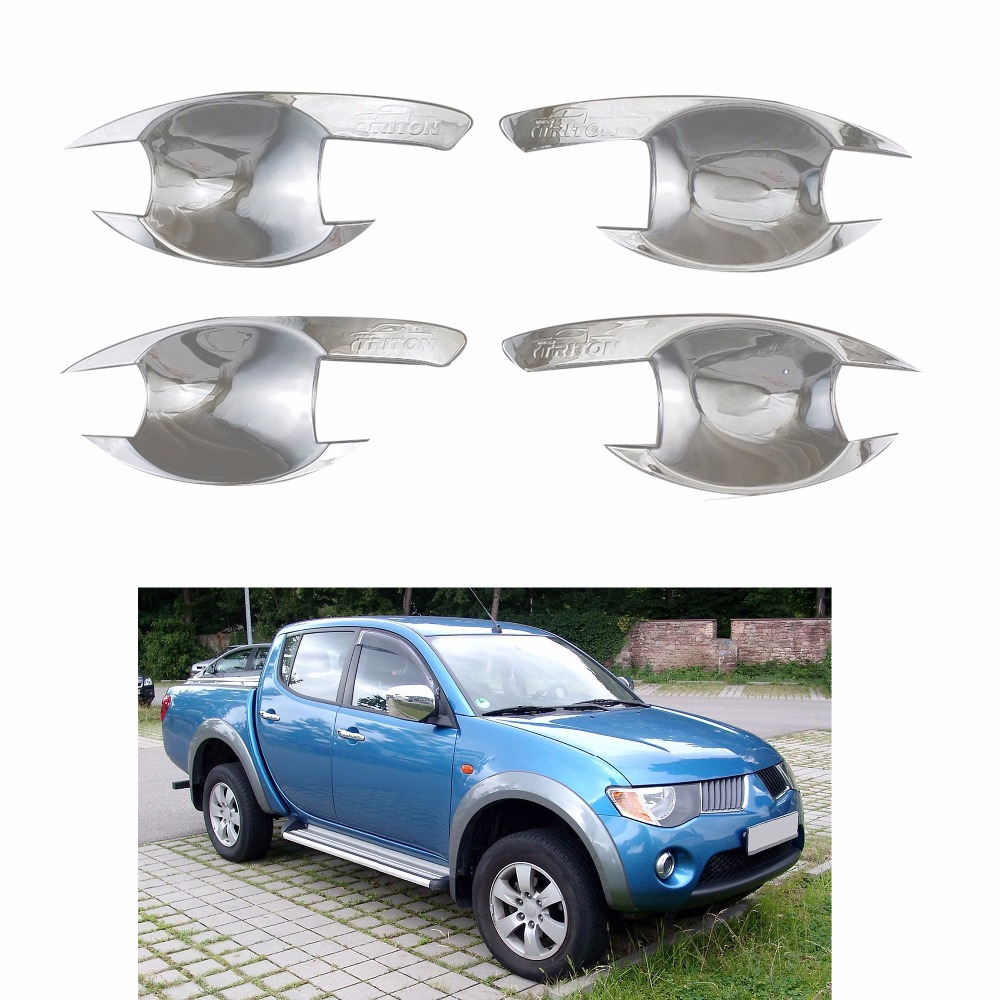 4PCS Abs Chrome plated Door Handle Bowl Covers Trim FOR Mitsubishi Triton L200 2005-2014 Accessories Car modification image