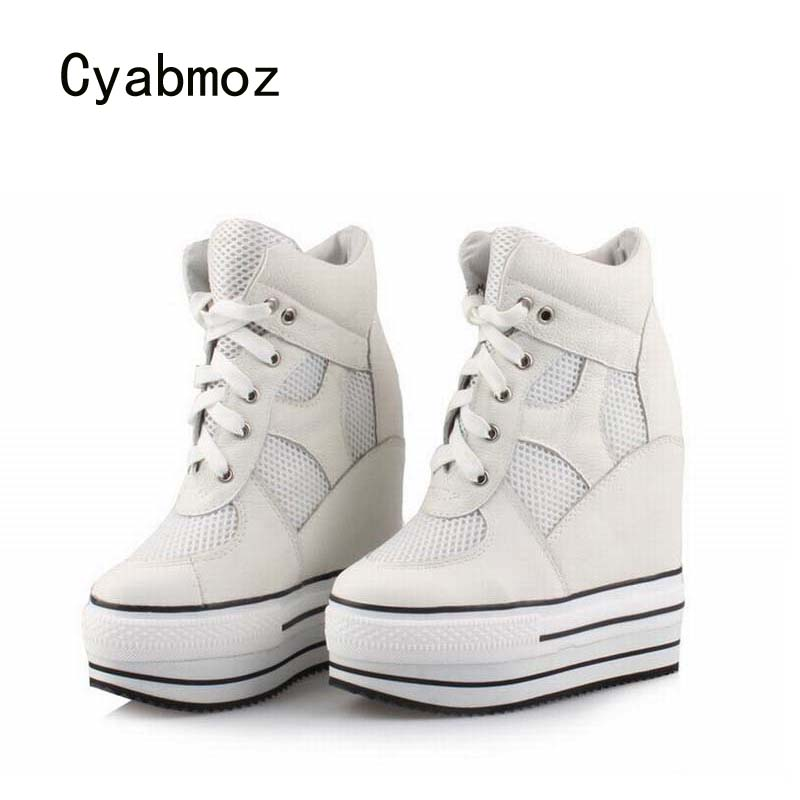 Cyabmoz Women Genuine leather Platform Shoes Woman High heels Top Thick bottom Wedge Shoes Zapatillas deportivas Zapatos mujer цена и фото