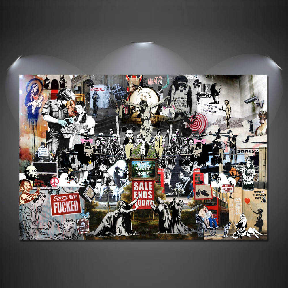 Abstract Banksy Graffiti Art Oil Painting HD Canvas Prints Modern Wall Painting Artwork (Unframed)