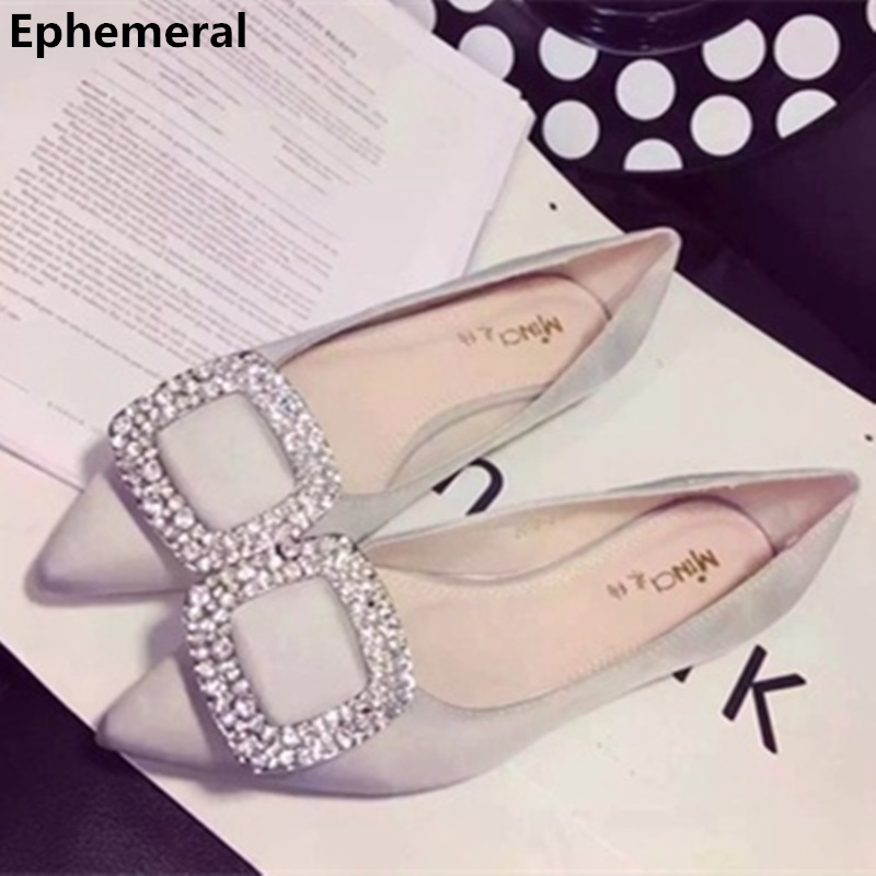 Female  Silk Flat With Luxury Rhinestones Pointed Toe Slip-Ons Brand Shoes For Driving Dancing Grey Red Black Larger Size 17 34