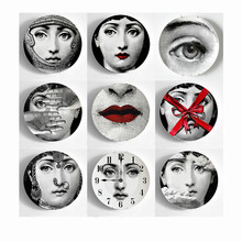 New European MILAN Style Gorgeous Rare Fornasetti Plates Lina Lightbulb Face Piero Wall Hanging Decorative 10 Inch