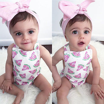 2018 Summer Cute Baby Girls Romper Jumpsuit Headband Watermelon Printed Outfits Sunsuit Set New 0-24M Children Kids Clothes Hot 1