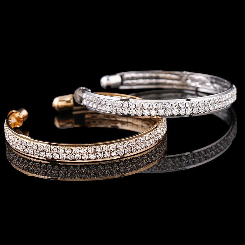 Nova moda simples charme pulseira feminina três linhas de strass completo aberto pulseira feminina yoga jóias parte presente b1144